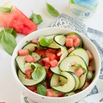This Watermelon Salad is all about fresh summer and just 5 ingredients. Watermelon, cucumber, basil and coconut water will hydrate and make you feel refreshed from the inside out.