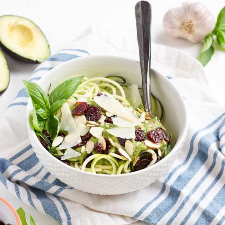 Go fresh this summer with a bowl of zucchini noodles coated in creamy avocado sauce, and topped with almonds, tart cherries and shaved parmigiano reggiano. This veggie meal is refreshing and satisfying, no heat required.