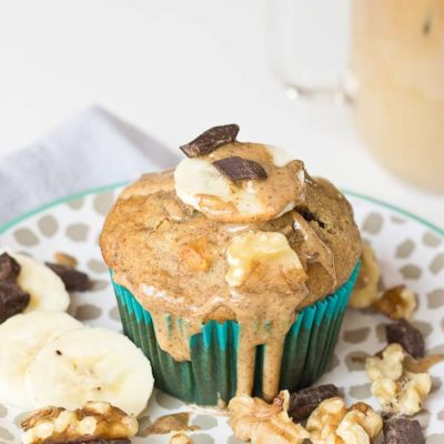 These Almond Butter Banana Bread Muffins are so moist and yum! Whip up a batch of these healthier banana bread muffins this weekend!