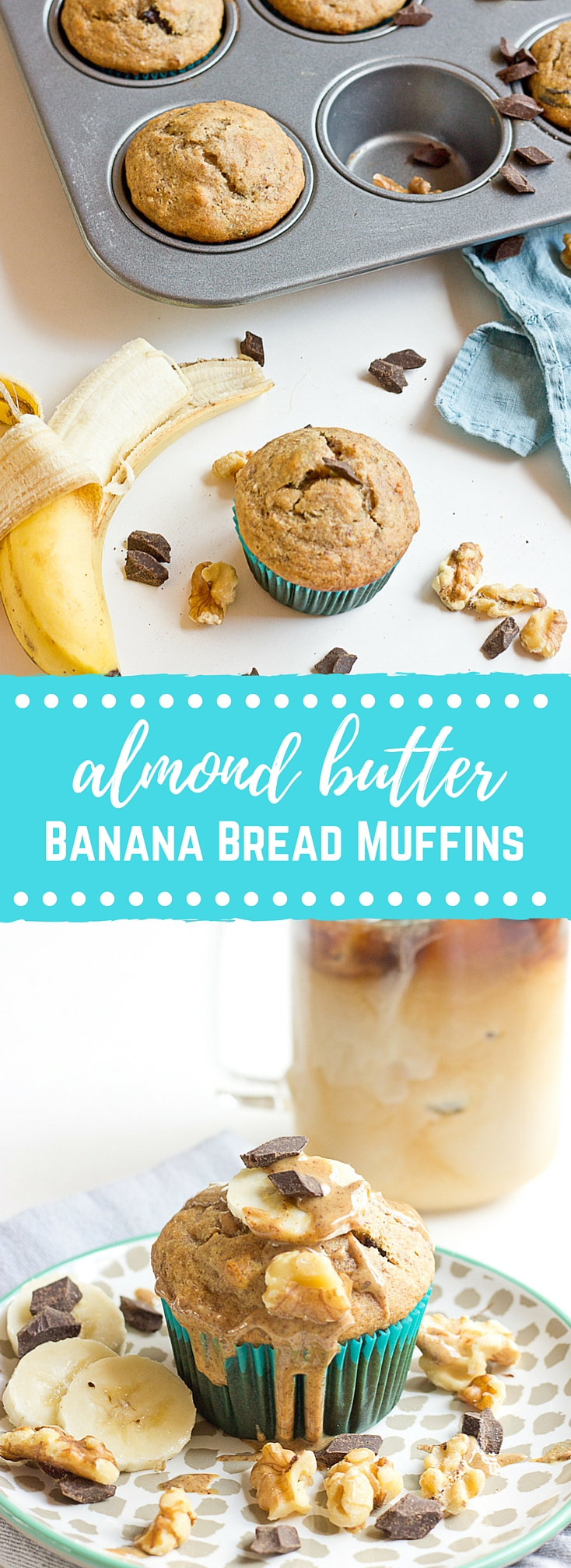 These Almond Butter Banana Bread Muffins are so moist and just straight up YUM!