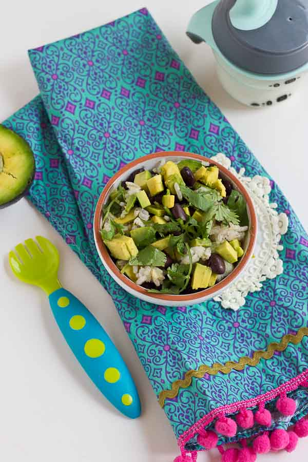 These Vegetarian Baby Burrito Bowls are a meal the whole family can enjoy and a great way for baby to develop their pincer grasp! Beans, avocado, and brown rice are wholesome foods for baby and you! If your baby isn't ready for finger foods, simply puree this meal to the desired texture and consistency.