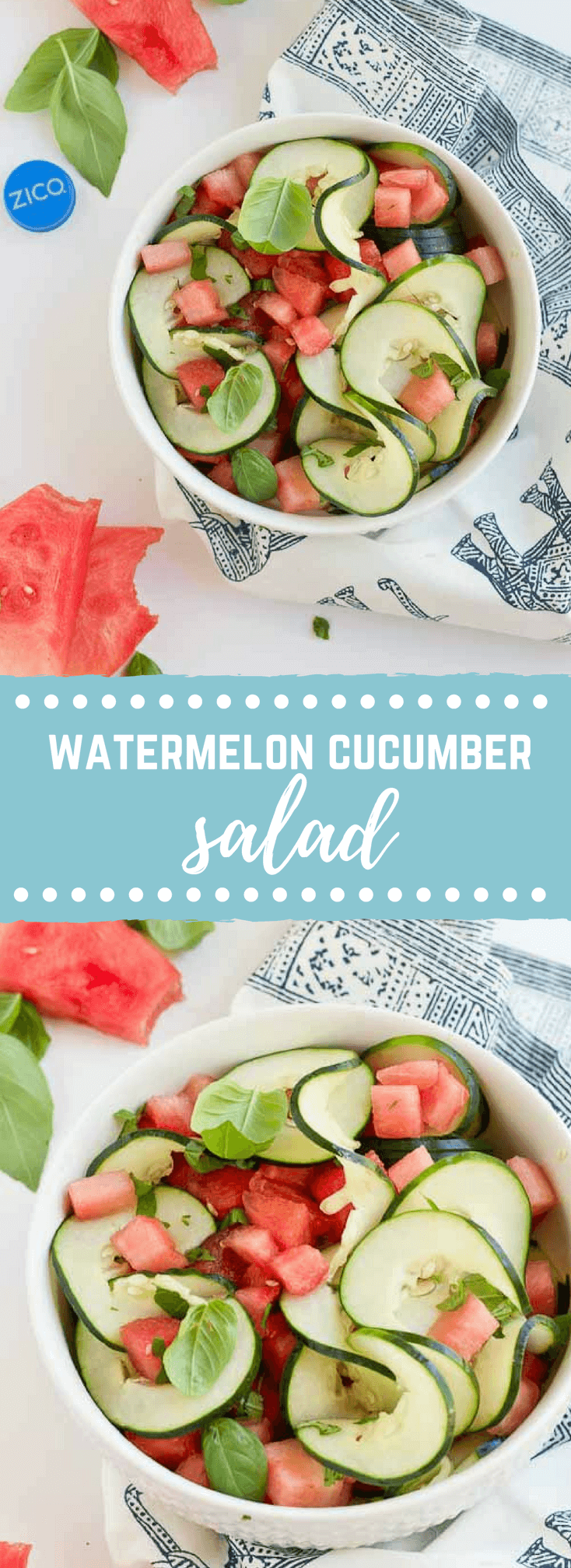 Watermelon Cucumber Salad - Just 5 ingredients. Watermelon, cucumber, basil and coconut water will hydrate and make you feel refreshed from the inside out.