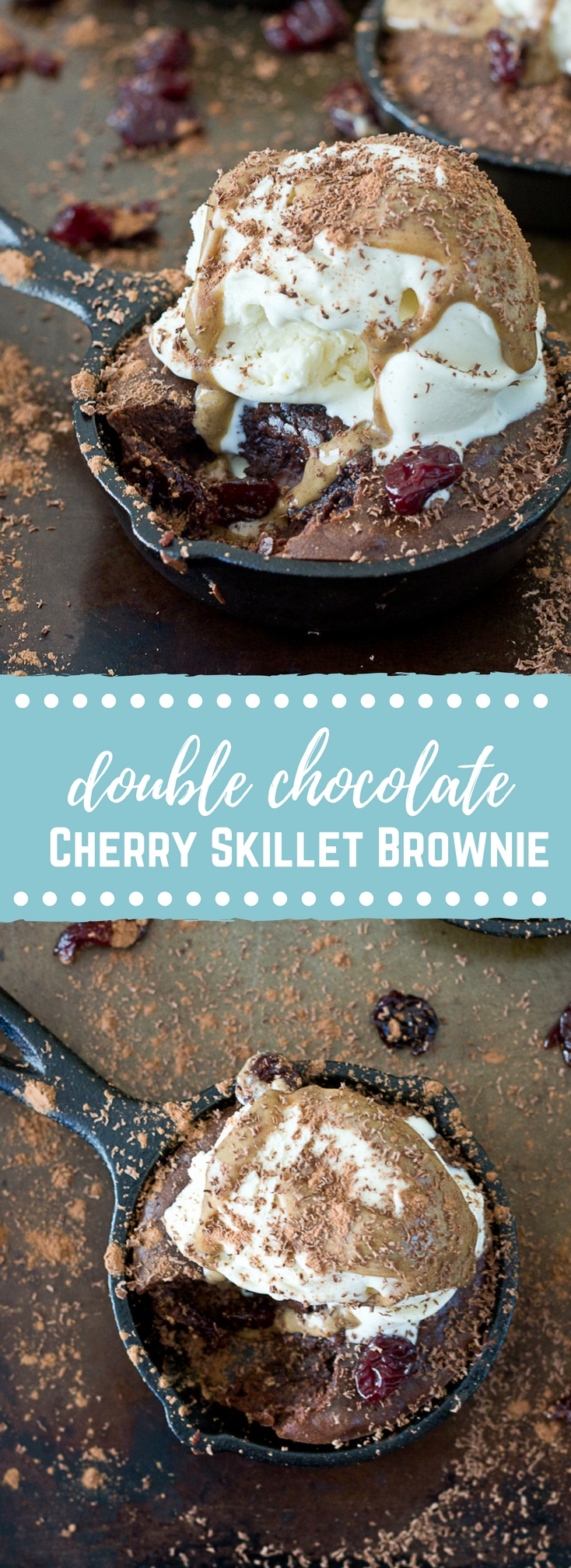 Double Chocolate Cherry Skillet Brownie | love & zest