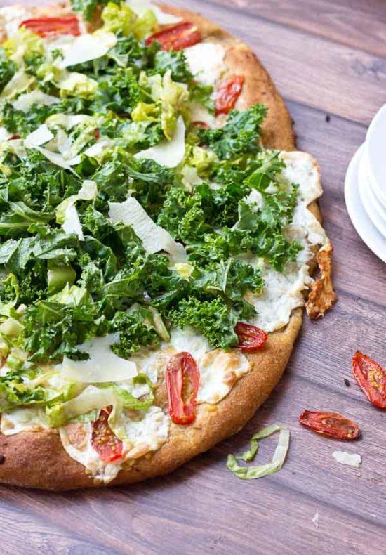 Kale Caesar Salad Pizza | Vegetarian Pizza Recipe | Love & Zest