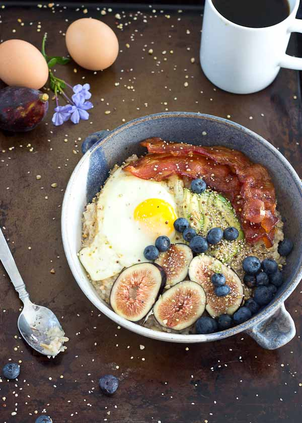 It's time to shake up that sweet oatmeal bowl and make it savory with bacon, eggs, and avocado! This Savory Oatmeal Bowl is high protein and will keep you energized all morning.