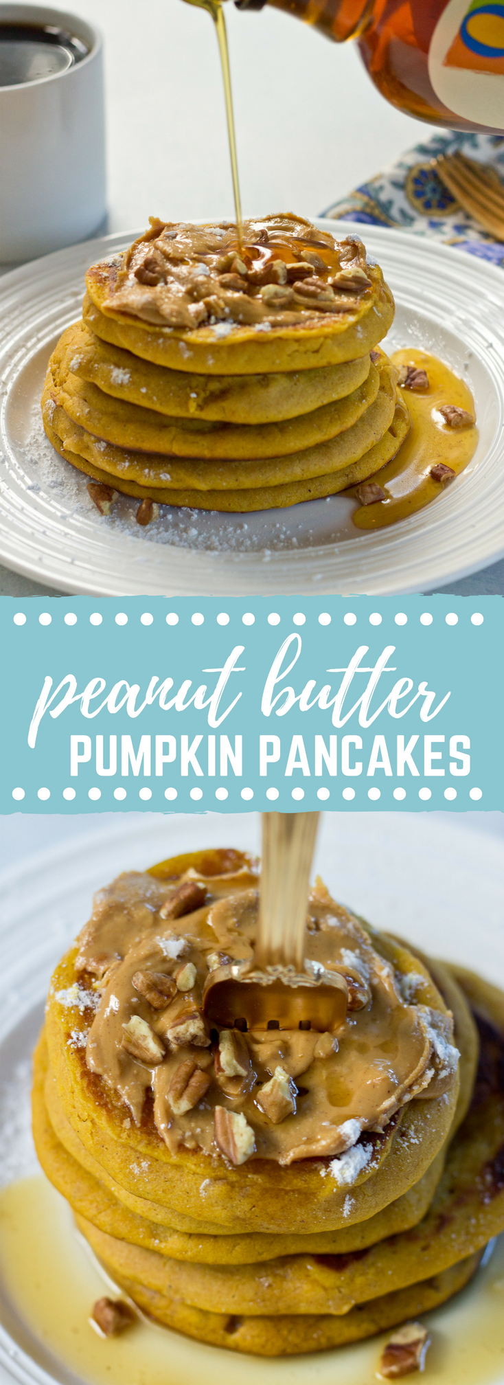 Peanut Butter Pumpkin Pancakes, need I say more? Get in my belly already! Super easy recipe made with box pancake mix to simplify your mornings.