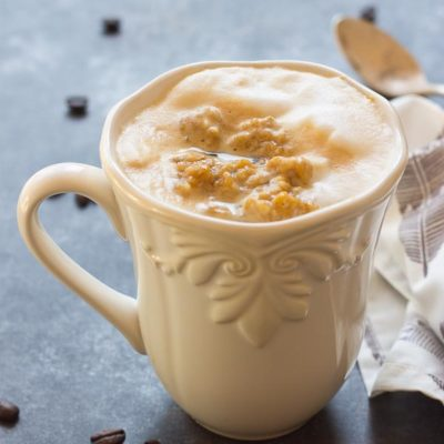 This Pumpkin Spice Oatmeal Latte is just what you need on a cozy fall morning. Your favorite things in one mug... pumpkin, oats, espresso and steamed milk! Grab a spoon.