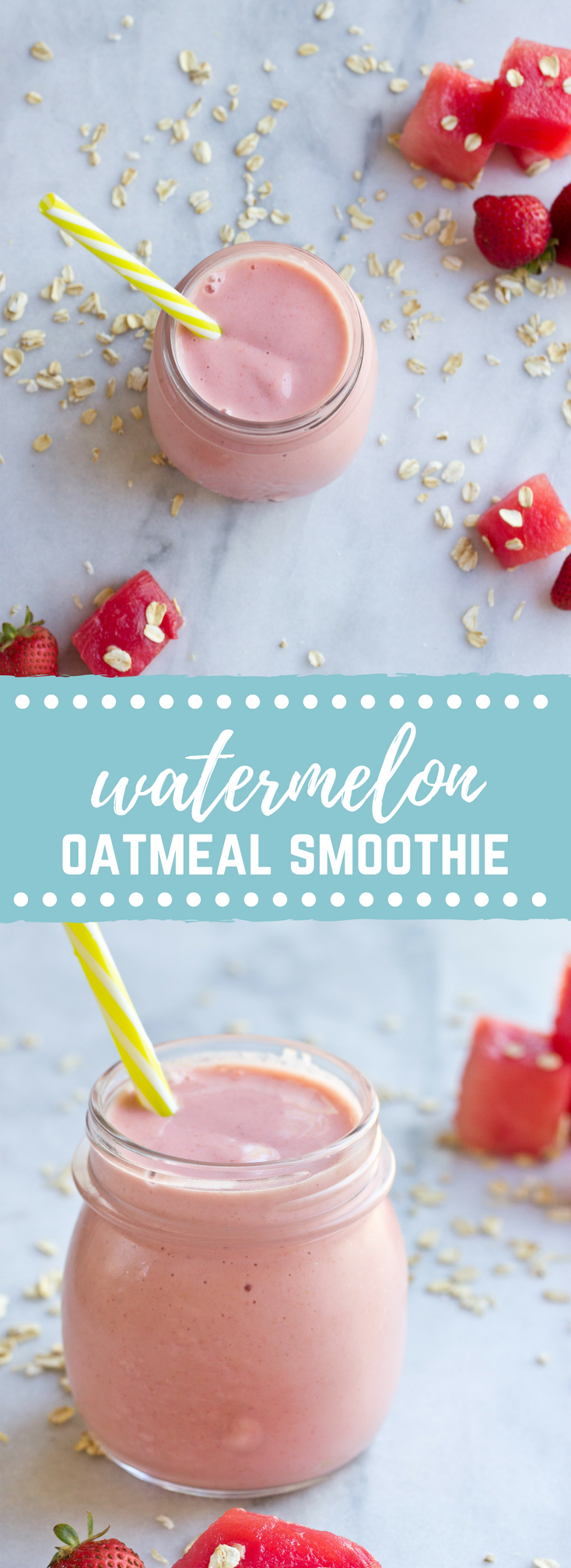 This Watermelon Oatmeal Smoothie is hydrating and filled with electrolytes, complex carbs and proteins needed to refuel post workout.