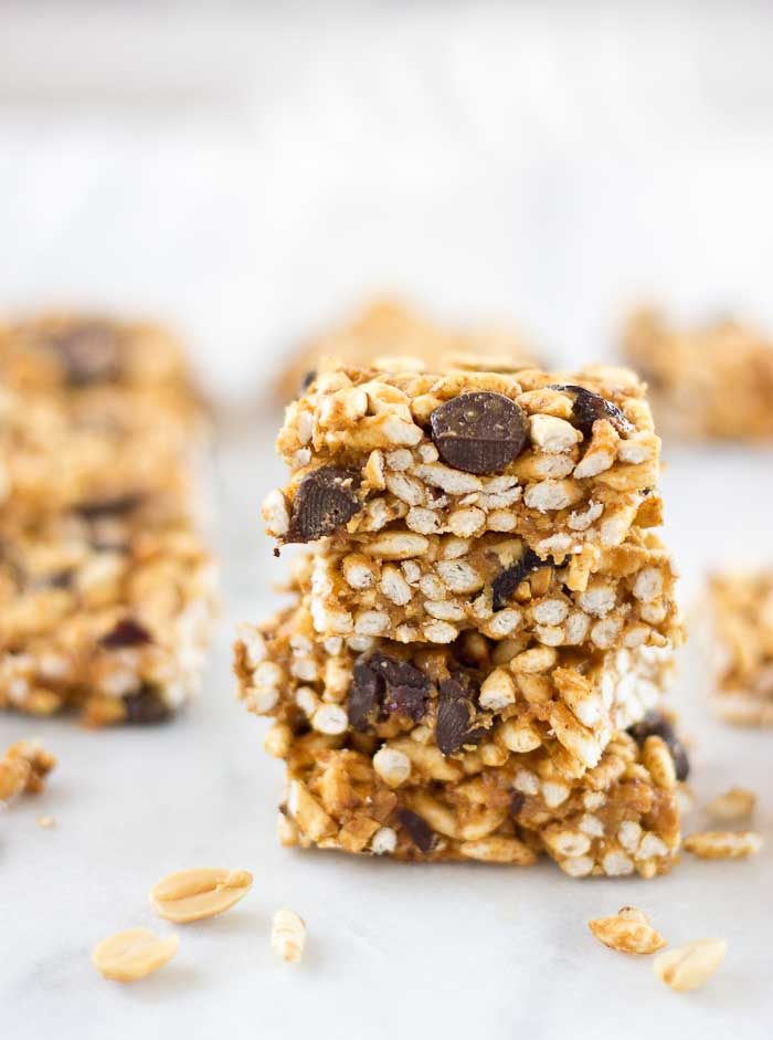 These Crunchy Peanut Butter Chocolate Chip Bars are all the rage-- perfect for a quick snack after school or work. Heck, they're delicious for breakfast or to satisfy those late night PB and chocolate cravings.