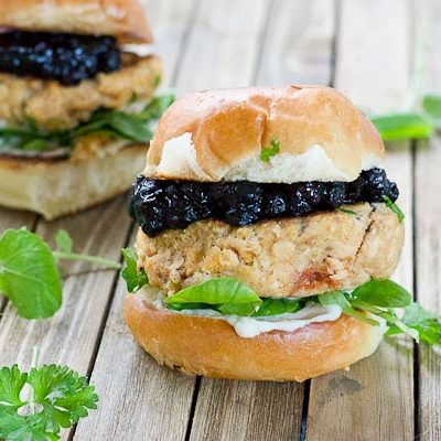 Salmon Sliders with Blueberry Compote