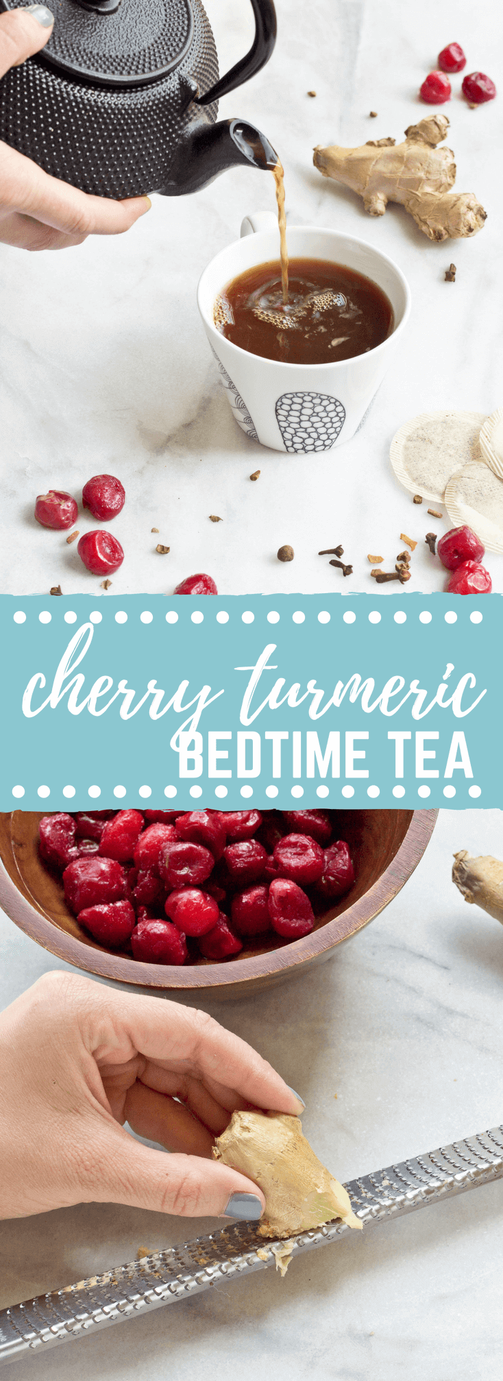 This Cherry Turmeric Bedtime Tea will undoubtedly change your tea life. Chamomile tea steeped in tart cherry juice, turmeric, ginger, and fresh tart cherries.