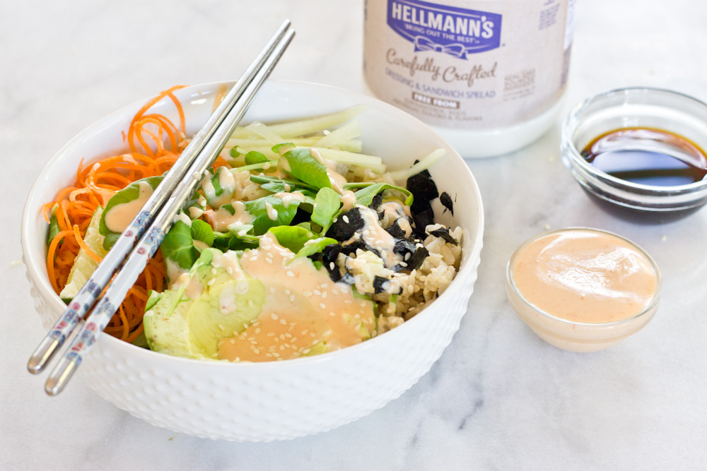 These Vegan Sushi Bowls are making my life right now… because of this spicy dressing. Let's be honest... it's all about the condiments.