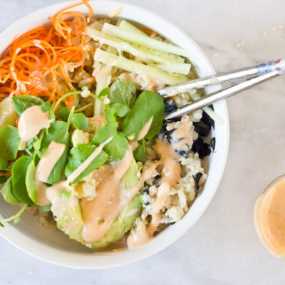Vegan Sushi Bowls with Spicy Dressing, made with Hellmann's® Vegan
