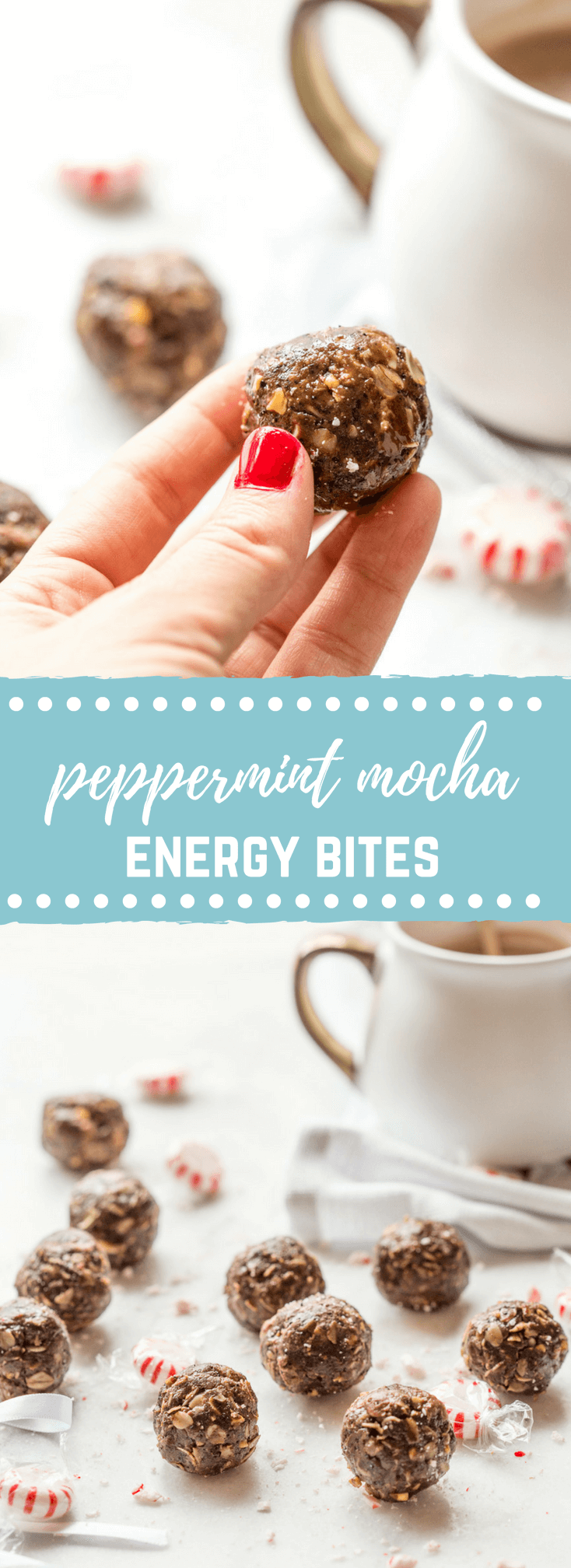 These Peppermint Mocha Energy Bites made with almond butter, oats, and ground coffee are sooo easy to prepare-- all you need is a big bowl and mixing spoon. They make the perfect snack for traveling during the holidays!