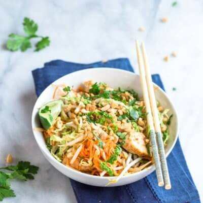 Low Carb Chicken Pad Thai Zoodles