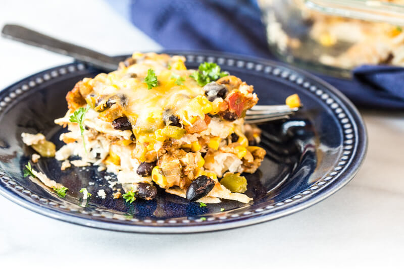 This Vegetarian Tortilla Casserole is made with wholesome ingredients like onions, bell pepper, corn, beans, vegetarian burger patties, corn tortillas and shredded cheese. It's a great recipe for vegetarians and meat eaters alike, since the Gardenburger patties have a meaty flavor and texture. LOVE THEM.