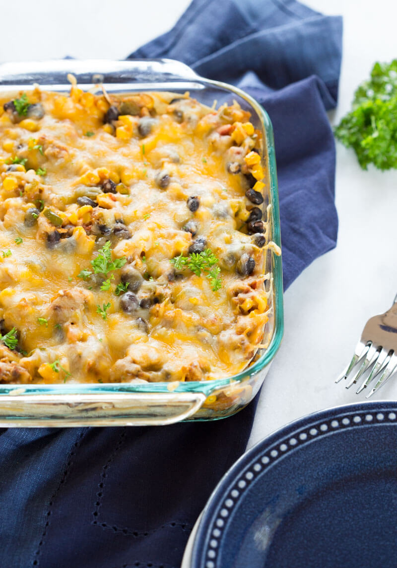 This Vegetarian Tortilla Casserole is made with wholesome ingredients like onions, bell pepper, corn, beans, vegetarian burger patties, corn tortillas and shredded cheese. It's a great recipe for vegetarians and meat eaters alike, since the veggie patties have a meaty flavor and texture. LOVE THIS ONE.