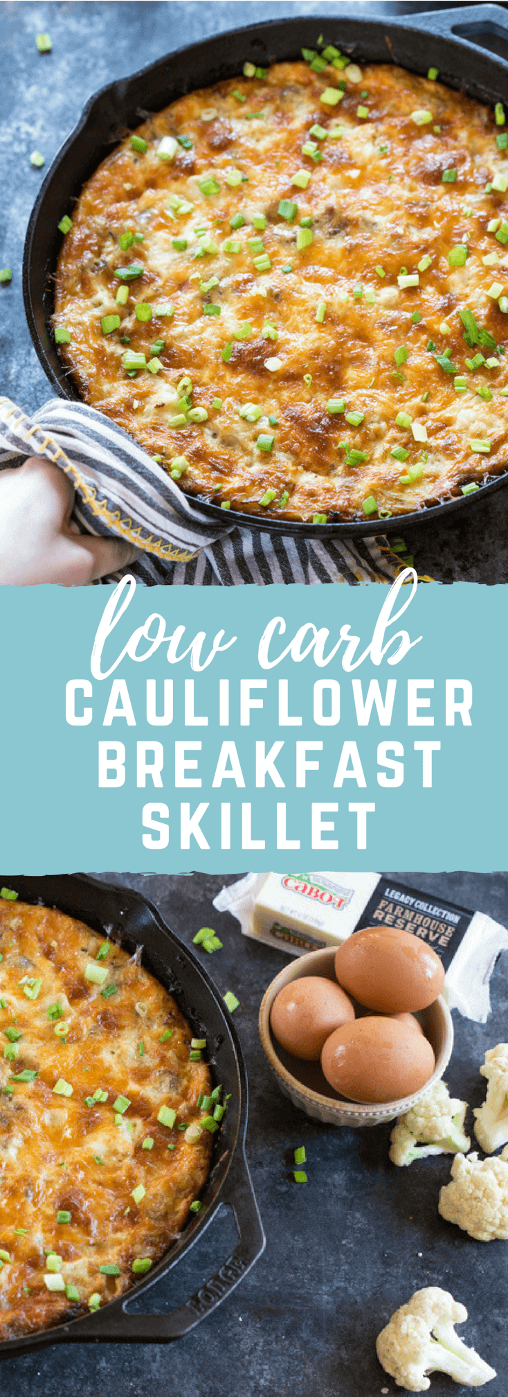 This Cauliflower Breakfast Skillet Casserole is protein packed thanks to chicken sausage, eggs and Cabot cheese. LOVE this savory lower carb breakfast-- I'm looking at you cauliflower! Meal prep this recipe at the beginning of the week and store slices in airtight containers for a convenient breakfast on the go!