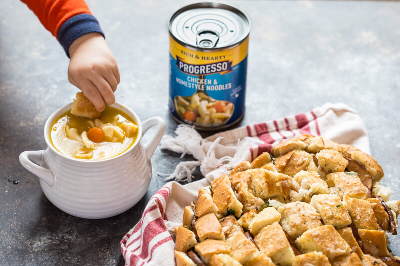 This Cheesy Pull Apart Bread will serve a crowd or simply scale the recipe down for one or two. It's easy to make and tastes delicious with soup!