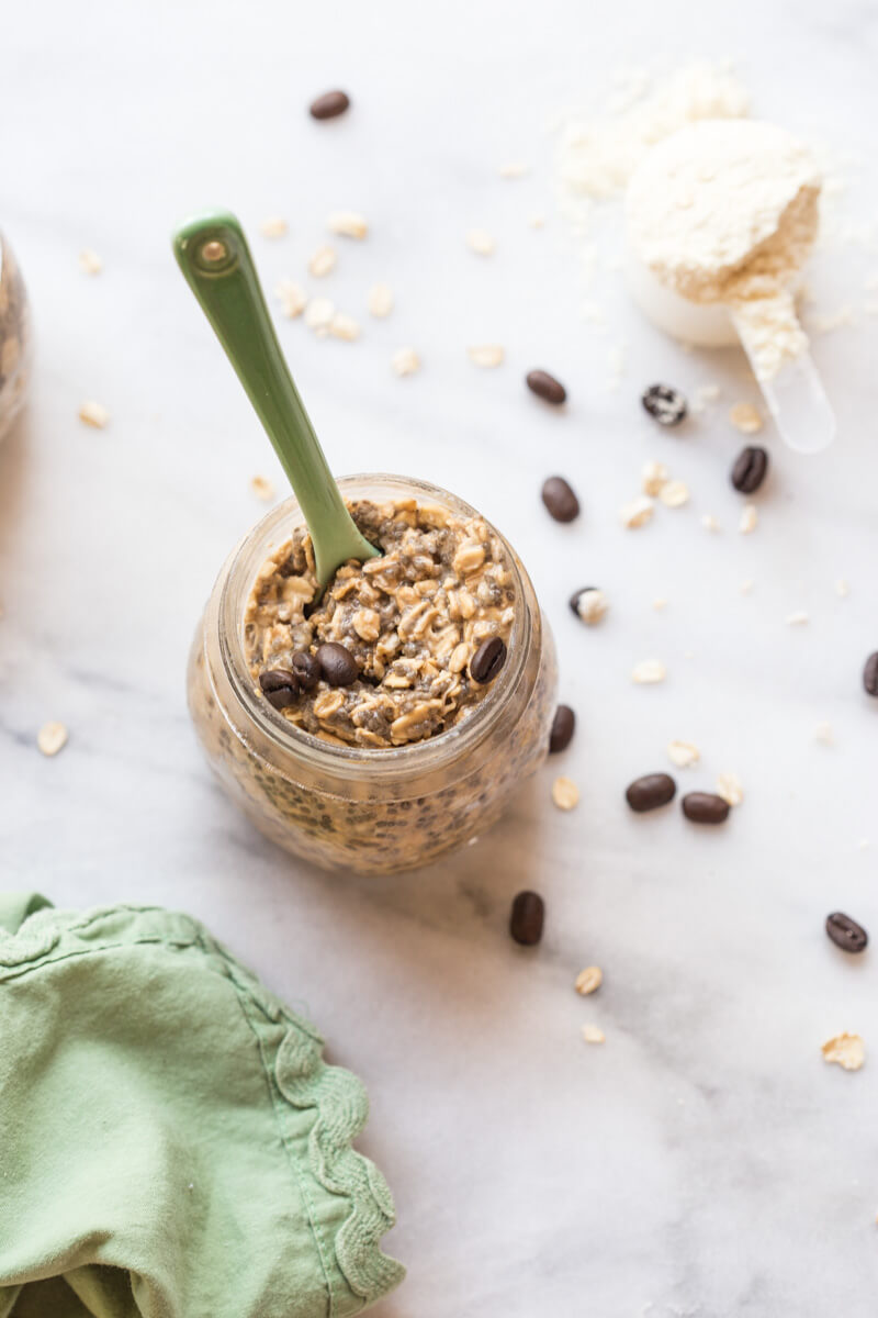 Do you need a little pick me up in the AM? Try this Cold Brew Coffee Overnight Protein Oatmeal. This overnight oatmeal is protein packed and laced with coffee! Oh happy day!