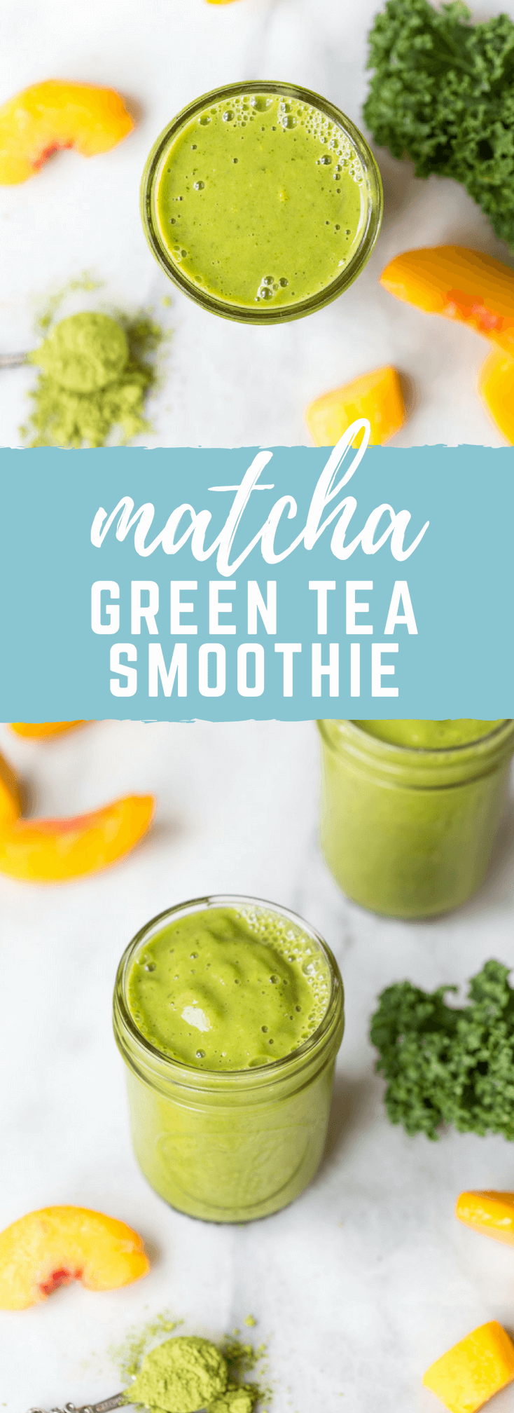 Go green with this mighty Matcha Green Tea Smoothie made with frozen mango, peaches, kale, orange juice, kefir, and matcha green tea powder. It's antioxidant rich, smooth and creamy and makes a great breakfast or snack!