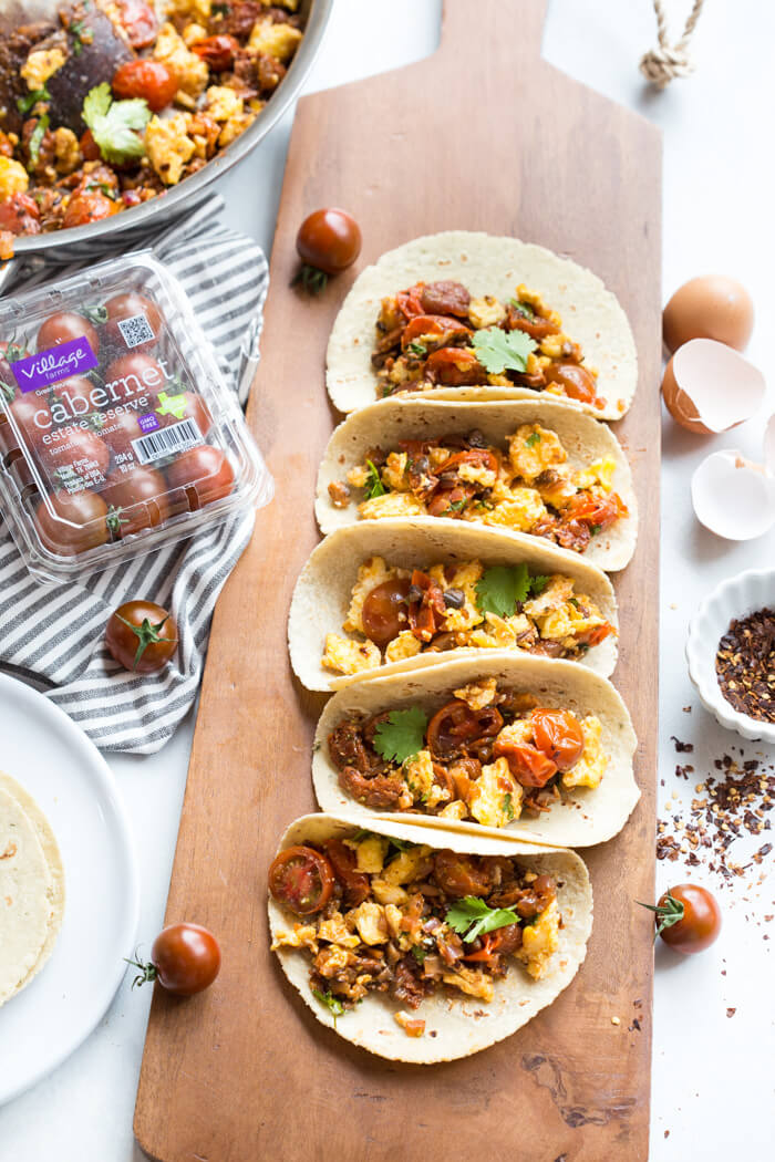 Skillet Breakfast Tacos With Chorizo And Sauteed Tomatoes A Healthy Veggie Filled Breakfast Recipe Love Zest