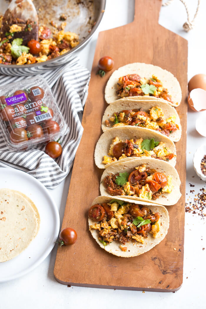 Get excited because these Skillet Breakfast Tacos with Chorizo and Tomatoes are da bomb dot com. Like literally flavor explosion in every bite. This recipe is one of those can't stop, won't stop type of breakfast recipes. Seconds? Yes, please!