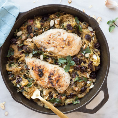 Garlic Butter Chicken Spaghetti Squash Skillet