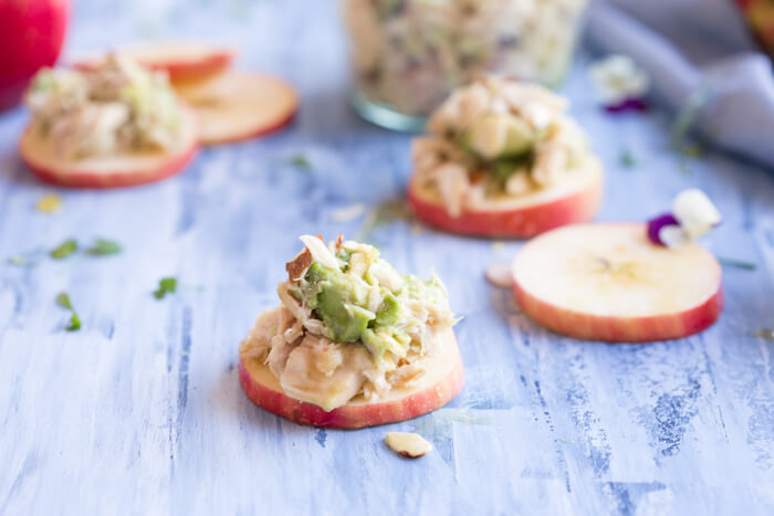 creamy low carb lunch recipe with avocado, canned tuna, and almonds