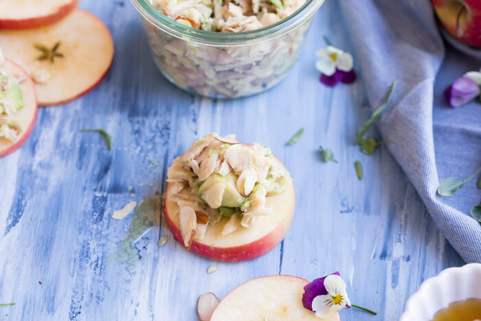 This lunch is simple, power packed and satisfying. The key to lasting energy is protein, healthy fat, and fiber... and these Avocado Tuna Salad Apple Slices have it all.