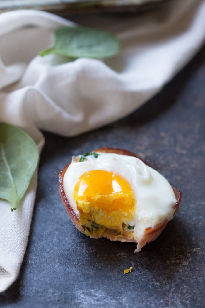 Ham Spinach Egg Cups High Protein Low Carb Breakfast