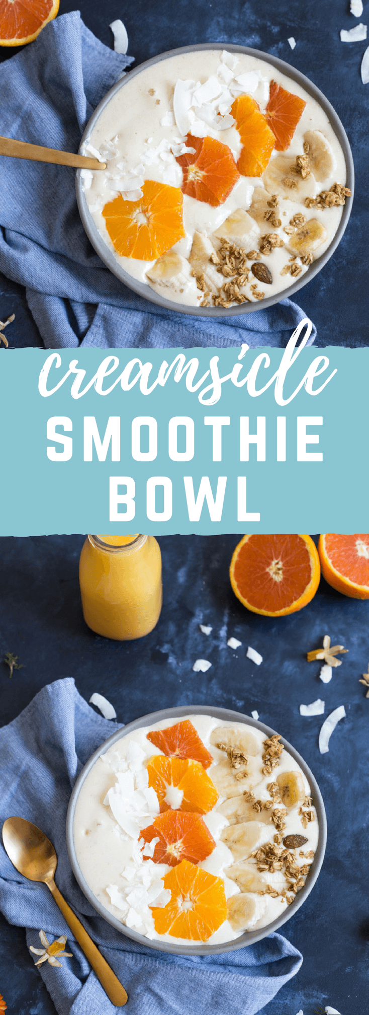 Orange Creamsicle Smoothie Bowl! Creamy, dreamy and everything you want in a smoothie that you can spoon. I love spooning my smoothies! Spooning > Sipping.