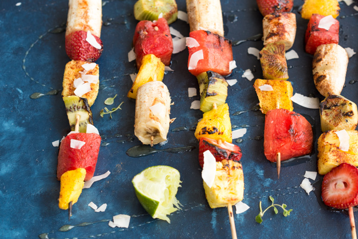Add a punch of color to the barbecue with these Honey Lime Grilled Fruit Skewers. Tangy, sweet and hydrating on a hot summer day!