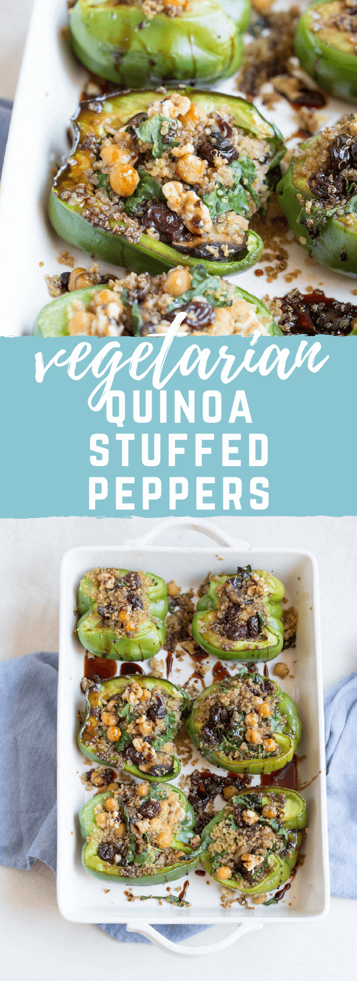 Vegetarian Quinoa Stuffed Peppers filled with quinoa, mushrooms, kale, dried tart cherries with walnuts and tart cherry reduction. A healthy veggie meal.