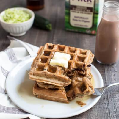 Chocolate Milk Zucchini Waffles