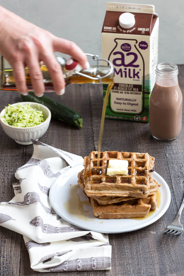Chocolate Milk Zucchini Waffles... chocolate milk waffles with hidden veggies you can't taste, your next breakfast obsession awaits.