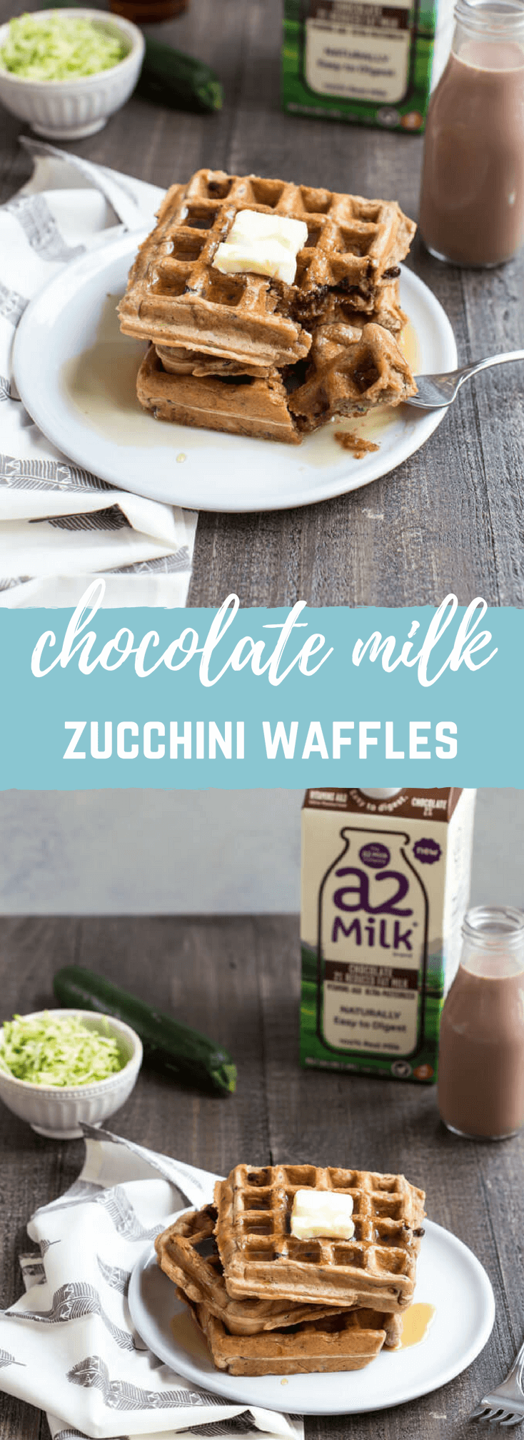 Chocolate Milk Zucchini Waffles | a kid friendly breakfast favorite