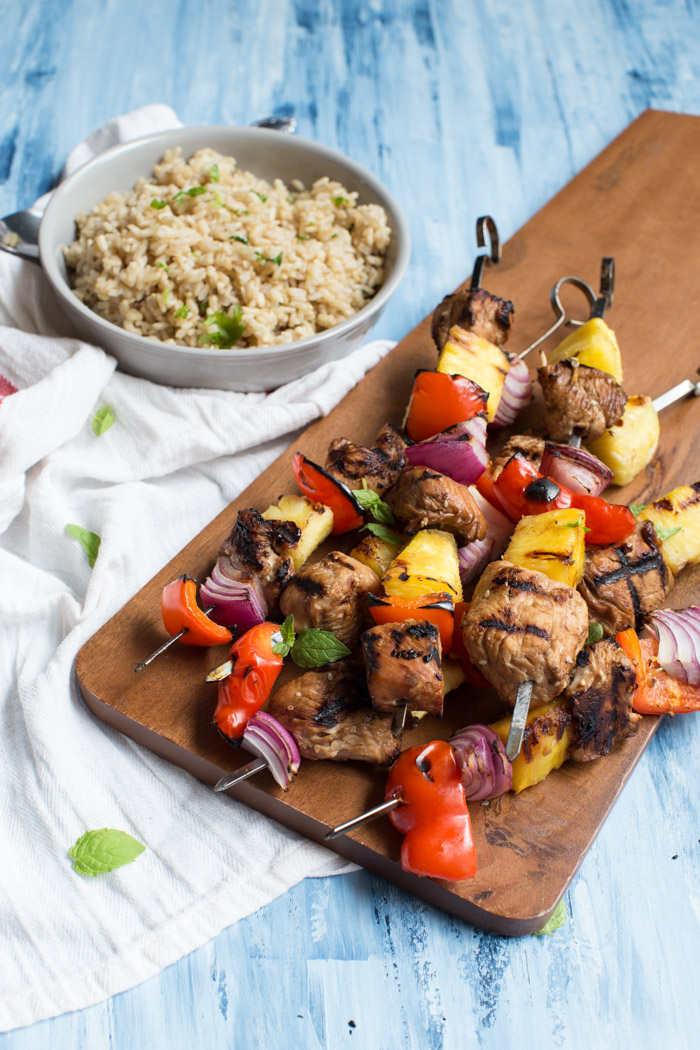 Hawaiian Turkey Kabobs are sweet, hearty and protein packed. Skewer pineapple, red pepper, red onion, and marinated turkey breast to toss on the grill for a casual meal any day of the week.