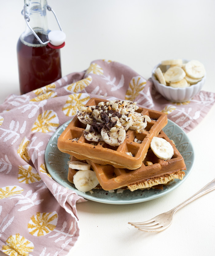 Peanut Butter Banana Blender Waffles... because everything in life is better with a little peanut butter.