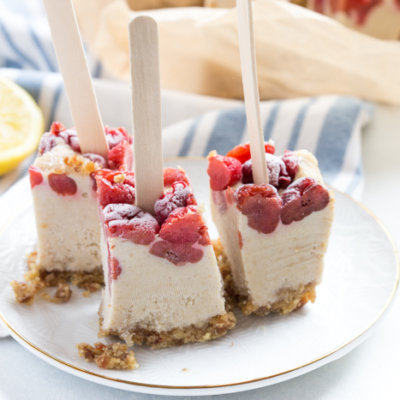 Cherry Cheesecake Pops, a no bake summer treat that will cool you down and satisfy that after dinner sweet tooth. Vegan, gluten free and paleo.