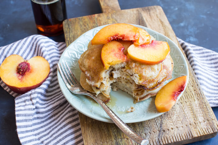 The BEST gluten free peach pancakes you'll ever eat. Light, fluffy, and just peachy. Gotta get some. Freeze leftovers for quick breakfast when you don't feel like cooking but want homemade pancakes.