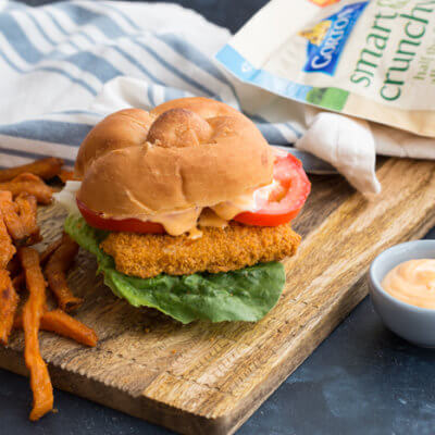 Crispy Fish Sandwich with Sriracha Mayo Dressing