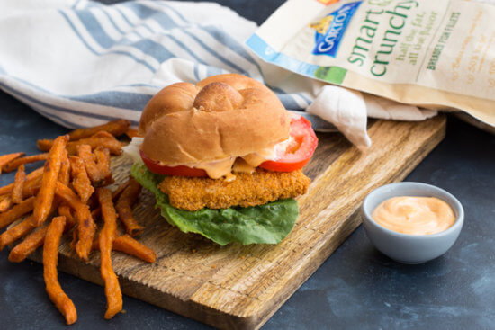 Crispy fish sandwich with sriracha mayo dressing for Fish sandwich calories
