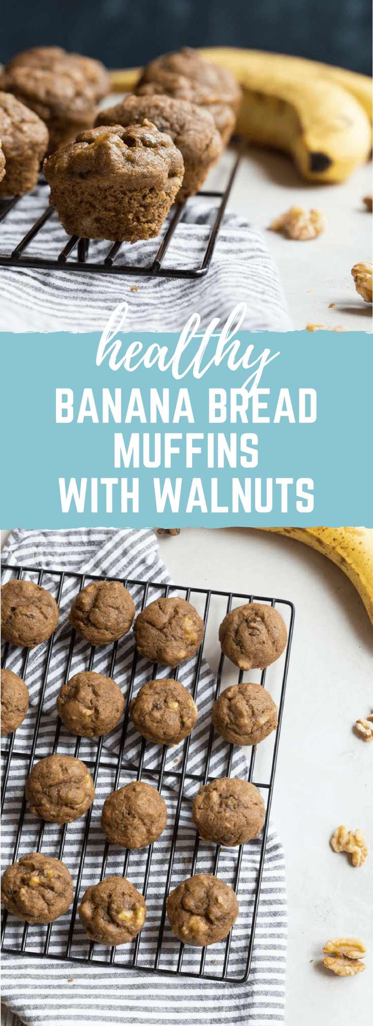 Healthy Banana Bread Muffins with Walnuts | less sugar and