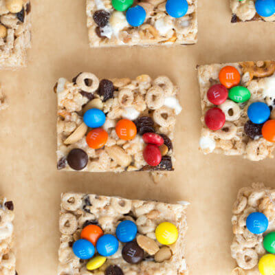 No Bake Trail Mix Cereal Bars