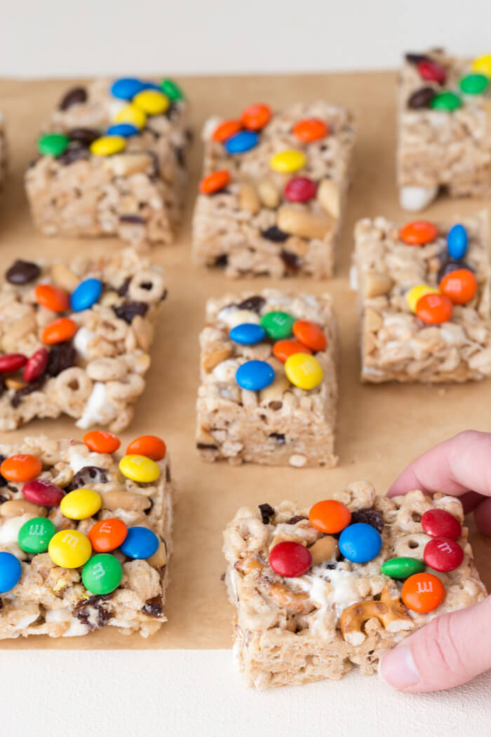 No Bake Trail Mix Cereal Bars. Peanut butter marshmallow trail mix goodness because we all need a little fun in our life! This rice crispy treat gets a tasty upgrade with a sweet and salty trail mix twist.