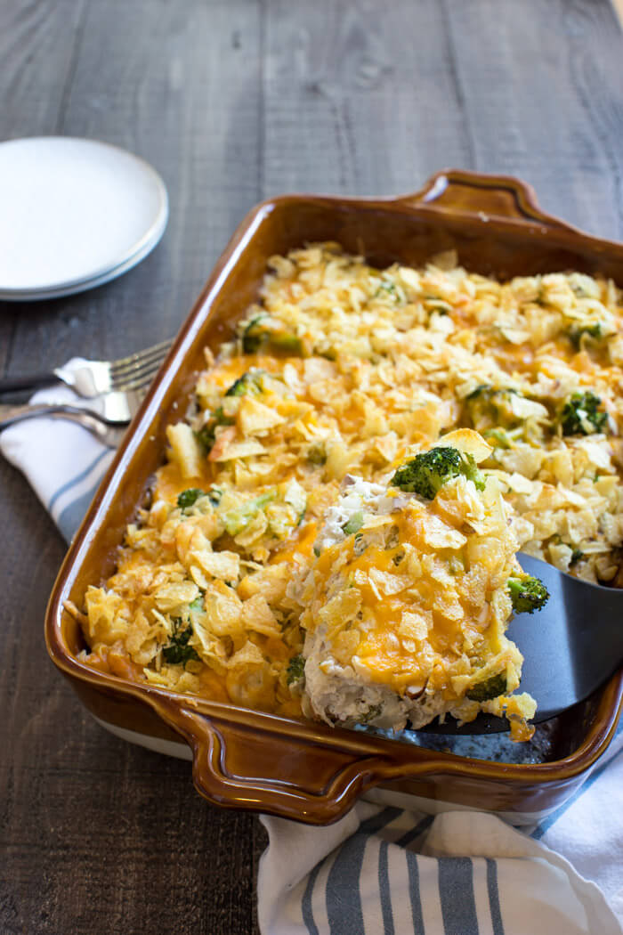 This Potato Chip Chicken Casserole recipe has been around for generations but this one has been reinvented with better-for-you ingredients to fit our healthier lifestyles. Now I can feel good serving this well-loved Potato Chip Chicken Casserole to my family.