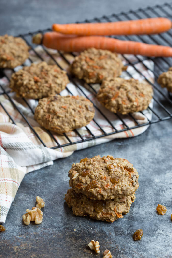 These Carrot Cake Breakfast Cookies are made with sweet carrots, oats, whole wheat flour, maple syrup, golden raisins and walnuts.Love all the healthy fats, whole grains, and veggies in these cookies!