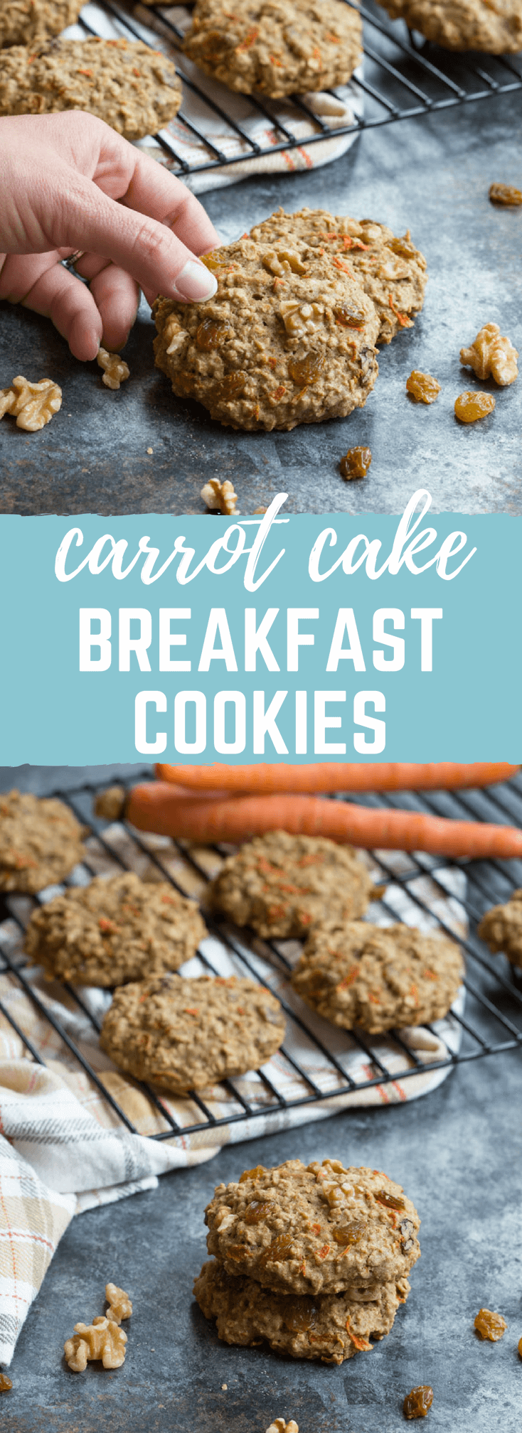 These Carrot Cake Breakfast Cookies are made with sweet carrots, oats, whole wheat flour, maple syrup, golden raisins and walnuts. Love all the healthy fats, whole grains, and veggies in these cookies!