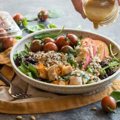 I'm loving all the fall flavors in these Vegetarian Harvest Grain Bowls. Quinoa, arugula, tomatoes, apples, roasted sweet potatoes, dried tart cherries and pumpkin seeds tossed together with an apple cider vinaigrette.